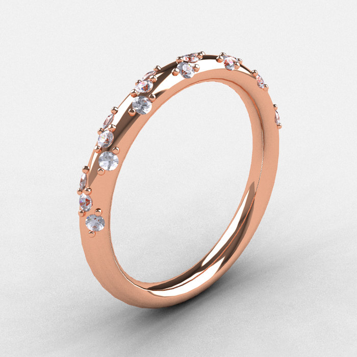 French Bridal 10K Rose Gold Diamond Wedding Band R185B10KRGD