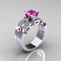 Classic 18K White Gold Pink Sapphire Diamond Solitaire Ring Double Flush Band Bridal Set R188S2-18KWGDPS-1
