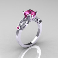 Classic 18K White Gold Pink Sapphire Diamond Solitaire Ring R188-18KWGDPS-1