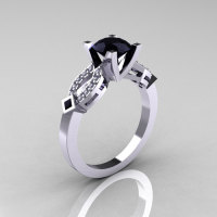 Classic 14K White Gold Black and White Diamond Solitaire Ring R188-14KWGDBD-1