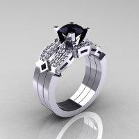 Classic 14K White Gold Black and White Diamond Solitaire Ring Double Flush Band Bridal Set R188S2-14KWGDBD-1