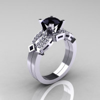Classic 14K White Gold Black and White Diamond Solitaire Ring Single Flush Band Bridal Set R188S-14KWGDBD-1