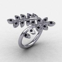 14K White Gold Black Diamond Leaf and Vine Wedding Ring Engagement Ring NN112-14KWGBD-1