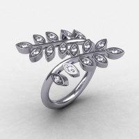 14K White Gold Diamond Leaf and Vine Wedding Ring Engagement Ring NN112-14KWGD-1