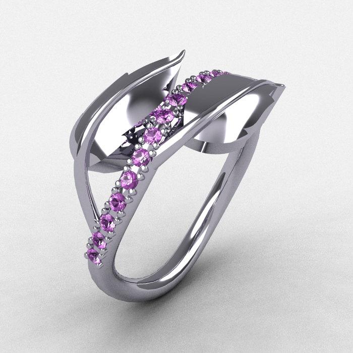 14k white gold lilac amethyst leaf and vine wedding ring engagement ring nn113 14kwgbt - Amethyst Wedding Rings