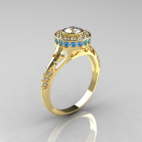Modern Antique 18K Yellow Gold White Sapphire Aquamarine Diamond Wedding Ring Engagement Ring R191-18KYGDAQWS-1