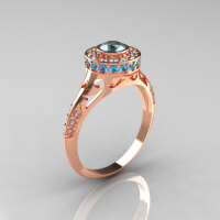 Modern Antique 14K Rose Gold Aquamarine Diamond Wedding Ring Engagement Ring R191-14KRGDAQQ-1