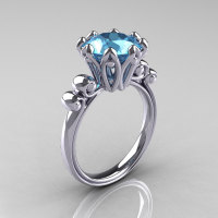 Modern Antique 10K White Gold 3.0 Carat Aquamarine Solitaire Engagement Ring AR135-10KWGAQ-1
