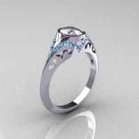 Classic 14K White Gold Oval White Sapphire Aquamarine Wedding Ring Engagement Ring R194-14KWGAQNWS-1