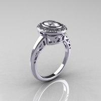 Classic Italian 14K White Gold Oval White Sapphire Diamond Engagement Ring R195-14KWGDNWS-1