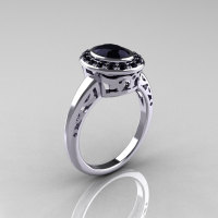 Classic Italian 14K White Gold Oval Black Diamond Engagement Ring R195-14KWGBDD-1