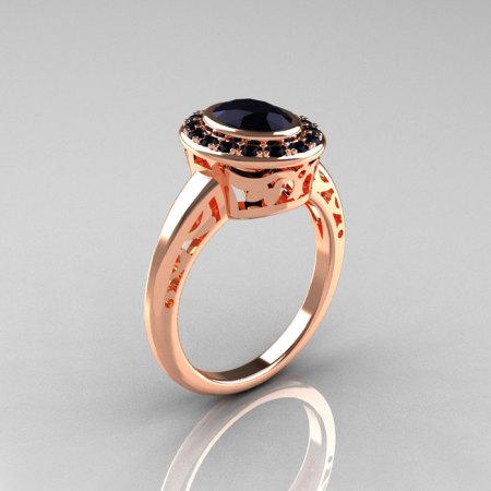 Classic Italian 14K Rose Gold Oval Black Diamond Engagement Ring R195-14KRGBDD-1