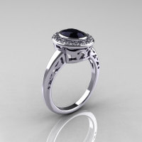Classic Italian 14K White Gold Oval Black and White Diamond Engagement Ring R195-14KWGDBD-1