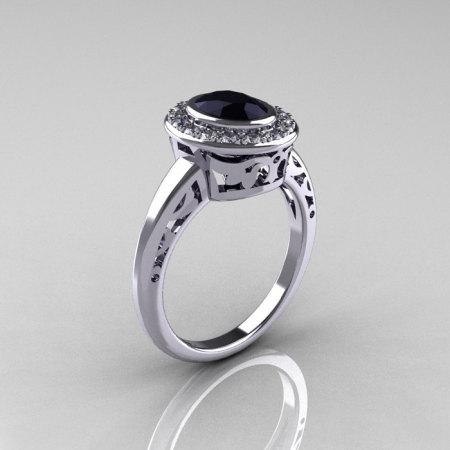 Classic Italian 14K White Gold Oval Black and White Diamond Engagement Ring R195-14KWGDBD-1
