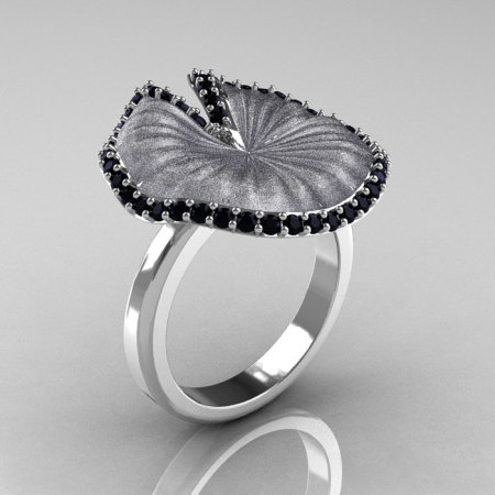 Natures Nouveau 14K White Gold Black Diamond Water Lily Leaf Bridal Ring NN121-14KWGSBD-1