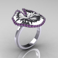14K White Gold Lilac Amethyst Water Lily Leaf Wedding Ring Engagement Ring NN121-14KWGLA-1