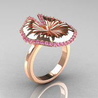 14K Rose Gold Light Pink Sapphire Water Lily Leaf Wedding Ring Engagement Ring NN121-14KRGLPS-1