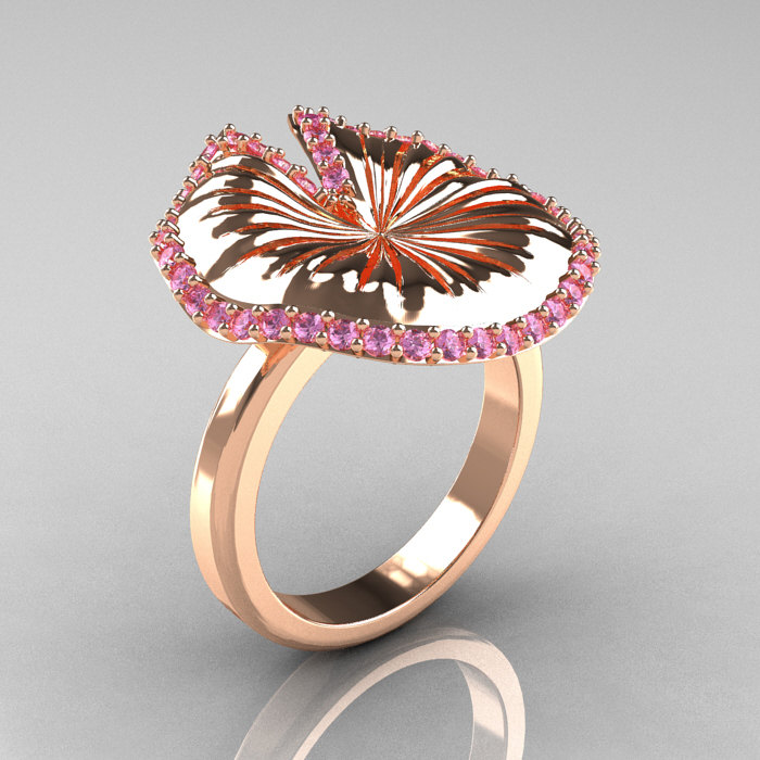 14k rose gold light pink sapphire water lily leaf wedding ring engagement ring nn121 14krglps - Leaf Wedding Ring