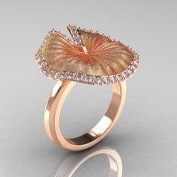 14K Rose Gold Diamond Water Lily Leaf Wedding Ring Engagement Ring NN121-14KRGSD-1