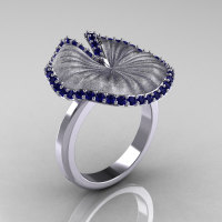 14K White Gold Blue Sapphire Water Lily Leaf Wedding Ring Engagement Ring NN121-10KWGSBS-1