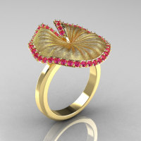 14K Yellow Gold Pink Sapphire Water Lily Leaf Wedding Ring Engagement Ring NN121-14KYGSPS-1