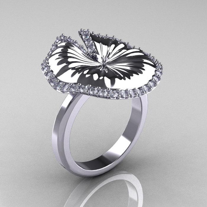 14k White Gold Diamond Water Lily Leaf Wedding Ring Engagement Nn121 14kwgd 1