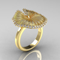 14K Yellow Gold Diamond Water Lily Leaf Wedding Ring Engagement Ring NN121-14KYGSD-1
