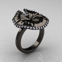 18K Black Gold Diamond Water Lily Leaf Wedding Ring Engagement Ring NN121-18KBGD-1