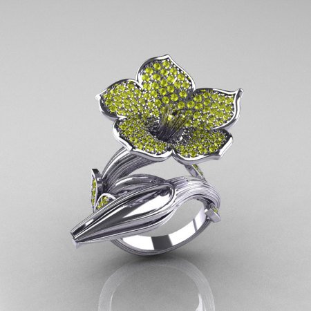 Designer Exclusive 14K White Gold Yellow Sapphire Angels Trumpet Flower and Vine Ring NN123-14KWGYS-1