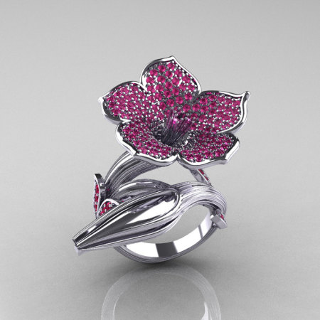 Designer Exclusive 14K White Gold Pink Sapphire Angels Trumpet Flower and Vine Ring NN123-14KWGPS-1