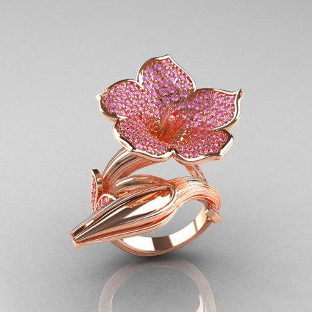 Designer Exclusive 14K Rose Gold Light Pink Sapphire Angels Trumpet Flower and Vine Ring NN123-14KRGLPS-1