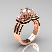 French 14K Rose Gold Three Stone Black Diamond White Sapphire Wedding Ring Engagement Ring Bridal Set R182S-14KRGBDWS-1