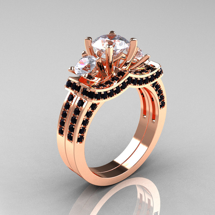 french 14k rose gold three stone black diamond white sapphire wedding ring engagement ring bridal set - White Sapphire Wedding Rings