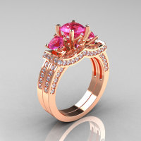 French 14K Rose Gold Three Stone White and Pink Sapphire Wedding Ring Engagement Ring Bridal Set R182S-14KRGWPS-1