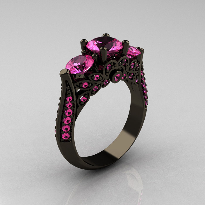 fullxfull rings ring stone sapphire il gold three french rose light engagement wedding pink product