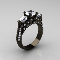 14K Black Gold Three Stone Diamond Cubic Zirconia Solitaire Ring R200-14KBGDCZ-1