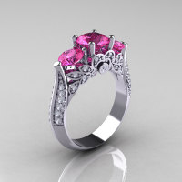 Classic 10K White Gold Three Stone Diamond Pink Sapphire Solitaire Ring R200-10KWGDPS-1