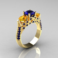 Classic 14K Yellow Gold Three Stone Blue Sapphire Citrine Solitaire Ring R200-14KYGBSCI-1