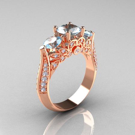 Classic 14K Rose Gold Three Stone Diamond Aquamarine Solitaire Ring R200-14KRGDAQ-1