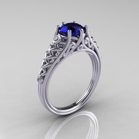 Classic French 14K White Gold 1.0 Carat Blue Sapphire Diamond Lace Ring R175-14WGDBS-1