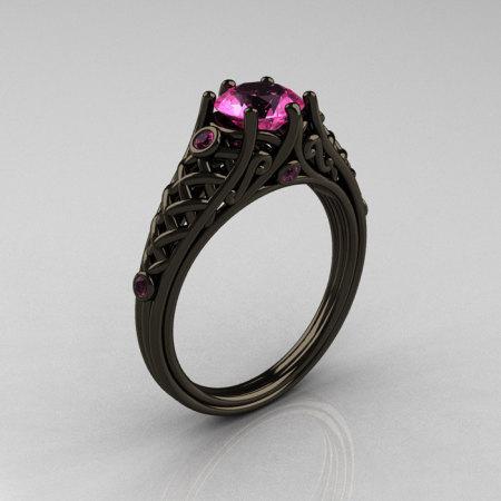 Classic 14K Black Gold 1.0 Carat Pink Sapphire Lace Ring R175-14KBGPS-1