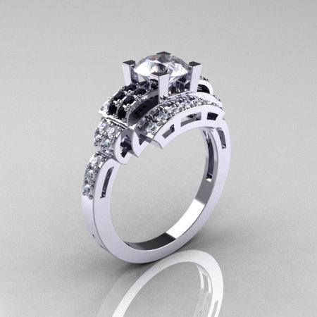 Modern Edwardian 14K White Gold 1.0 Carat White Sapphire Black Diamond Ring R202-14KWGBDWS-1