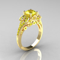 Classic 10K Yellow Gold 1.0 CT Yellow Topaz Solitaire Wedding Ring R203-10KYGYT-1