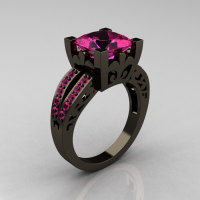 French Vintage 14K Black Gold 3.8 Carat Princess Pink Sapphire Solitaire Ring R222-BGPS-1
