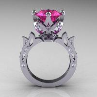 Modern Antique 14K White Gold 3.0 Carat Pink Sapphire Diamond Solitaire Wedding Ring R214-14KWGDPS-1