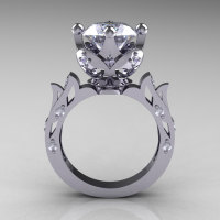 Modern Antique 14K White Gold 3.0 Carat Simulation and Natural Diamond Solitaire Wedding Ring R214-14KWGDSD-1