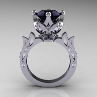 Modern Antique 10K White Gold 3.0 Carat Black and White Diamond Solitaire Wedding Ring R214-10KWGDBD-1