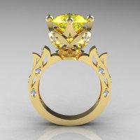 Modern Antique 14K Yellow Gold 3.0 Carat Yellow Topaz Diamond Solitaire Wedding Ring R214-14KYGDYT-1
