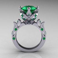 Modern Antique 10K White Gold 3.0 Carat Emerald Solitaire Wedding Ring R214-10KWGEM-1