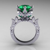 Modern Antique 14K White Gold 3.0 Carat Emerald Diamond Solitaire Wedding Ring R214-14KWGDEM-1